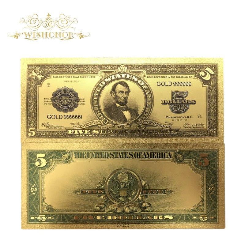10 шт./лот, красивая американская банкнота, 1923 год, 5 долларов США, банкноты в 24k позолоченные поддельные бумажные деньги для сбора