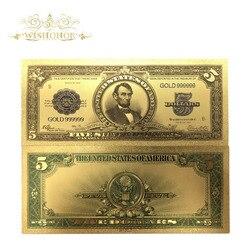 10 шт./лот Красивые американские банкноты 1923 года $5 долларов банкноты в 24k позолоченные Ложные бумажные деньги для коллекционирования