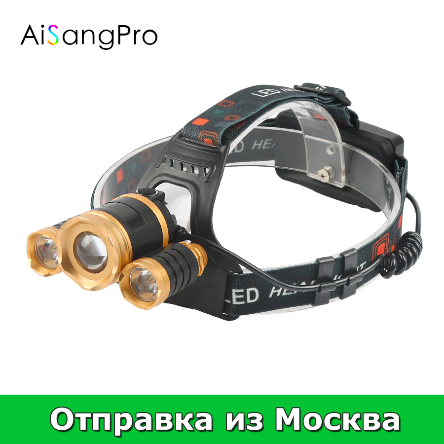 AiSangPro Head Lamp Led Flashlight 18650 Rechargeable Battery Headlight Fishing With Charger Headlamp Torch For Camping