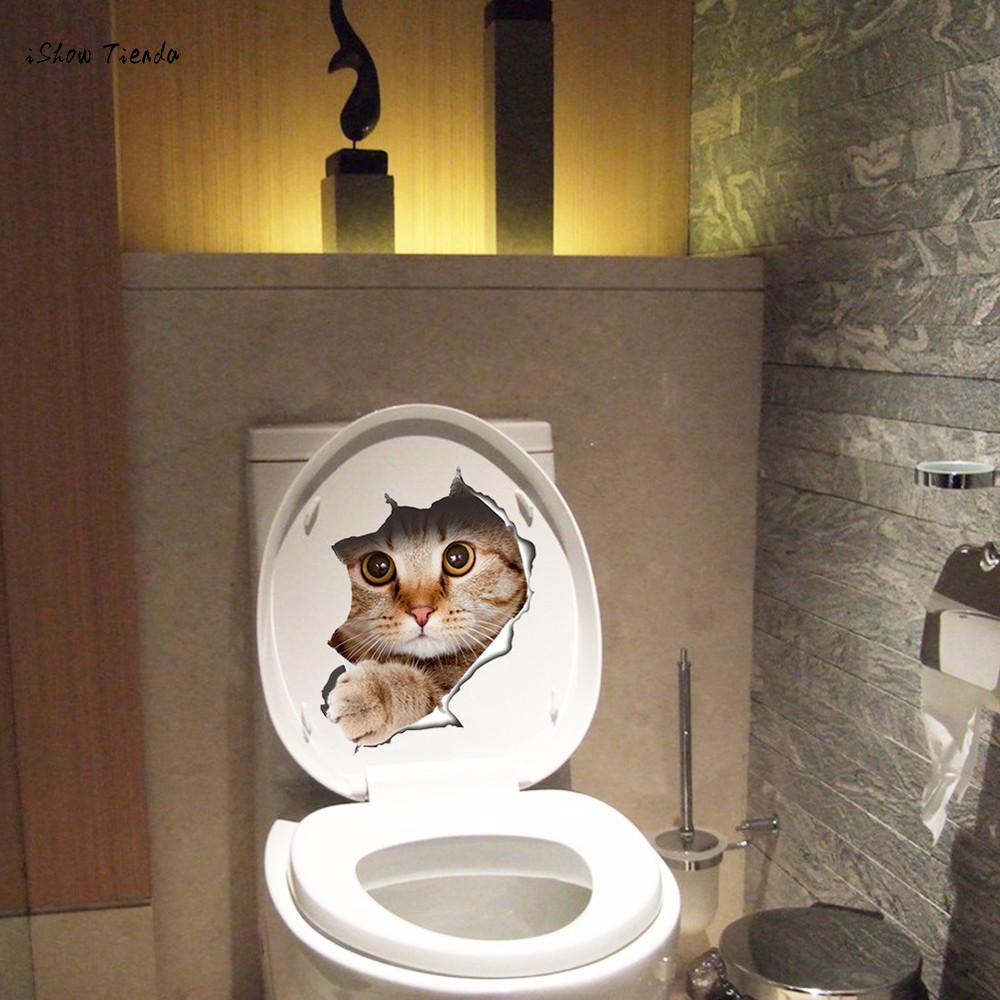 ISHOWTIENDA New 1PC 21*29cm Cat Toilet Seat Wall Sticker Creat Art 3D Cute Animal Wall Sticker Removable Bathroom Decals Decor
