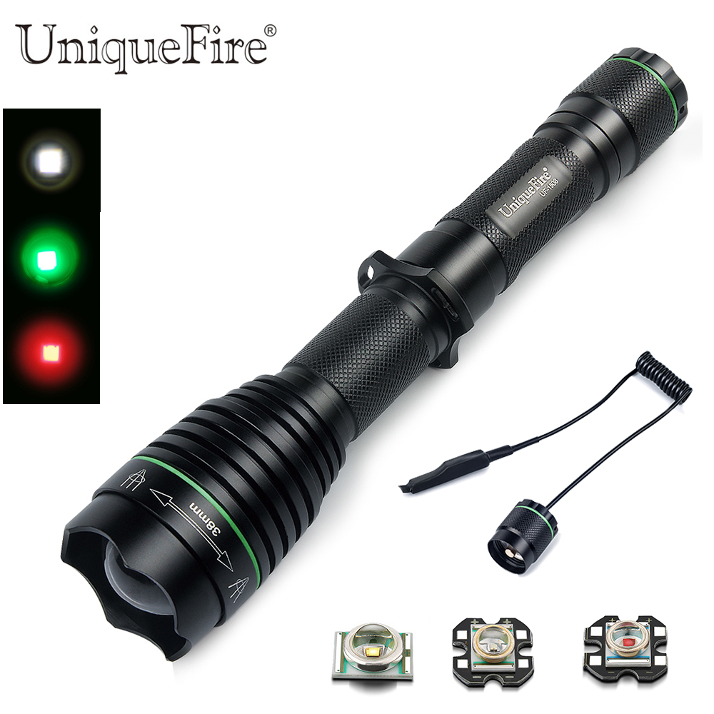 Led Flashlights Uniquefire 1502 Xre Adjustable Flashlight Aluinum Alloy Blacklight 3 Modes Green/red/white Light Lamp Torch+charger