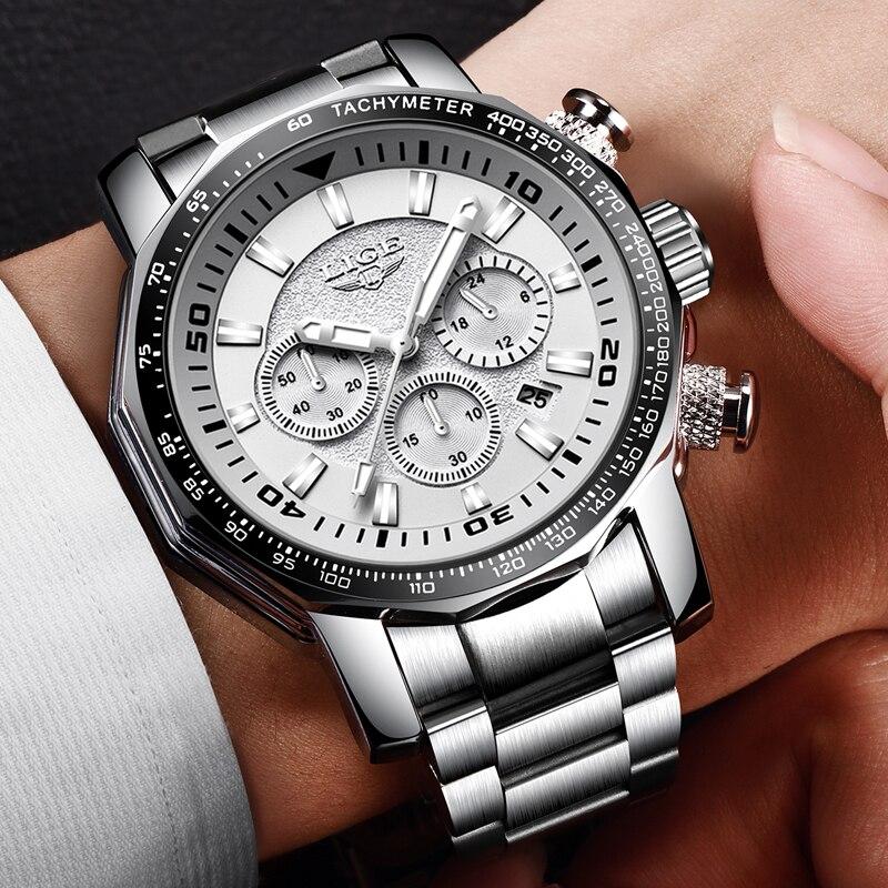LIGE hommes montre Top marque de luxe affaires montre hommes militaire Sport montres en acier inoxydable grand cadran chronographe Relojes Hombre