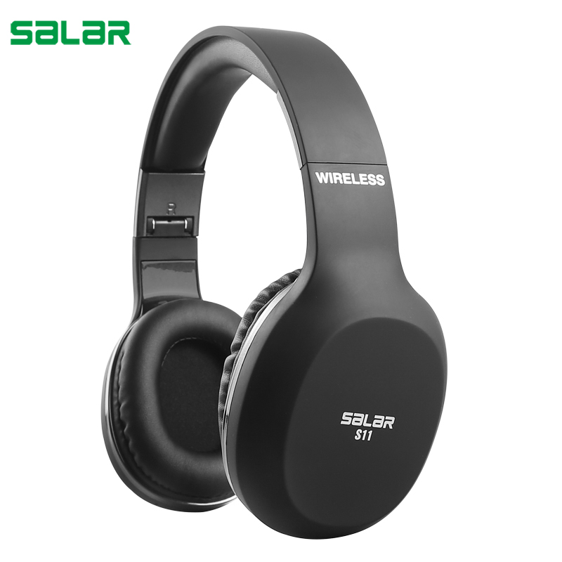 Salar S11 Foldable Wireless Bluetooth Headphones Over-Ear Stereo Earphone Headset with Microphone for Xiaomi Phones PC Computers earphone musical ear phones headphones with microphone bluetooth headset wireless noise cancelling computer fm tf card headband