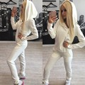 Sexy 2 pcs Women Sweatshirt Hoodie 2016 Fashion Solid Side Zip Up Long Sleeve Hoody Tracksuit+Trousers Casual Sportwear