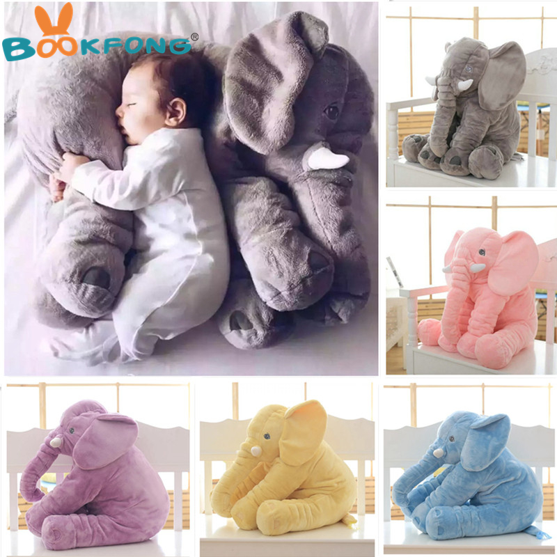 BOOKFONG 1PC 40/60cm Infant Soft Appease Elephant Playmate Calm Doll Baby Appease Toys Elephant Pillow Plush Toys Stuffed Doll 1