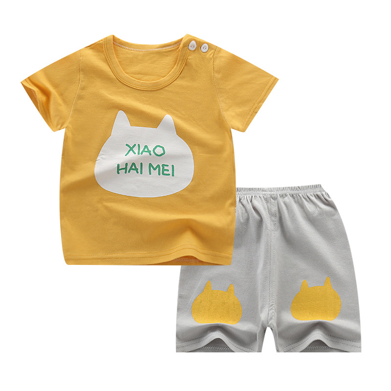 2Pcs/set Cat Printed Short-sleeved T-shirt+Shorts Outfits Summer 100% Cotton Newborn Baby Boys Girls Clothes Suit Girls Clothes