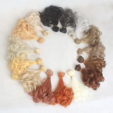 Doll Hair 15cm * 100cm Hot Pear Curly Hairs for Dolls Curly Wavy Accessories Khaki Wigs Toys for Children Girl Gif Dolls Hairs(China)