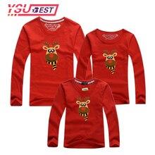С рождественским оленем, семейная Одежда для мамы и дочки семейная одежда для папы футболка для сына с длинным рукавом Семья подходящая друг к другу одежда