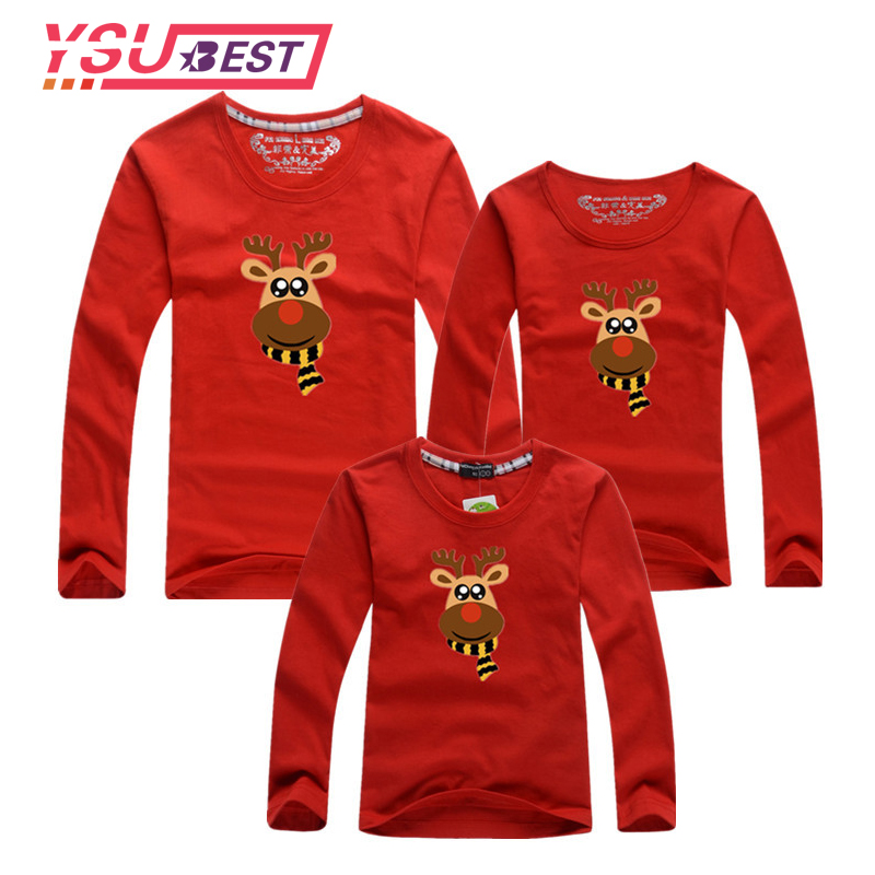 2018 Christmas Deer Family Look Mother Daughter Clothes Family Clothing Father Son T-Shirt Long Sleeve Family Matching Outfits mother and daughter clothes short sleeved t shirt dresses family matching outfits baby girl clothes girls clothing long dress