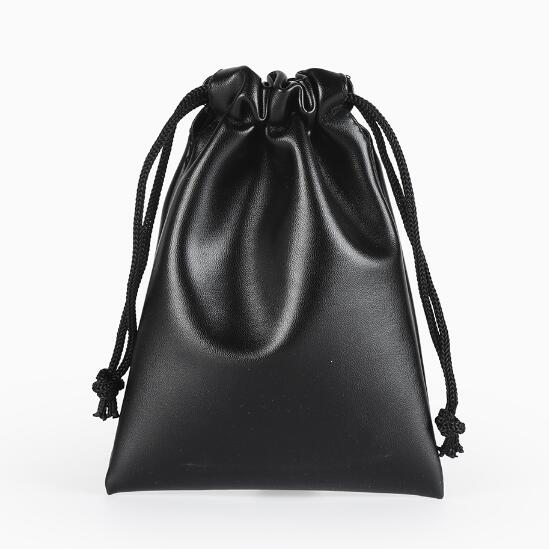10 Pcs/lot 12x11, 11x15, 15x20cm Drawstring Black PU Leather Bags & Pouches For Jewelry Jade Beads Gift Packaging Bags Wholesale