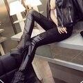 3xl плюс размер брюки женщины весна осень 2016 бермуды feminina черный кружева стежка кожаные леггинсы бархатные брюки женские A1358