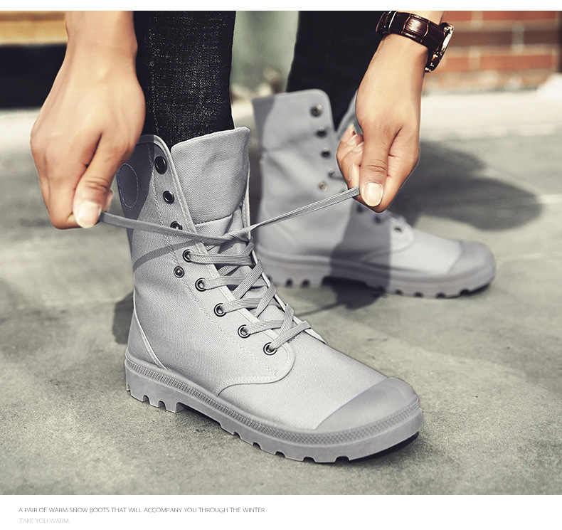 2019 kanvas ayakkabılar Erkek Botları Eğlence Yüksek Top yarım çizmeler Erkek Düz Ayakkabı askeri Bot Rahat Bahar Sonbahar dropshipping