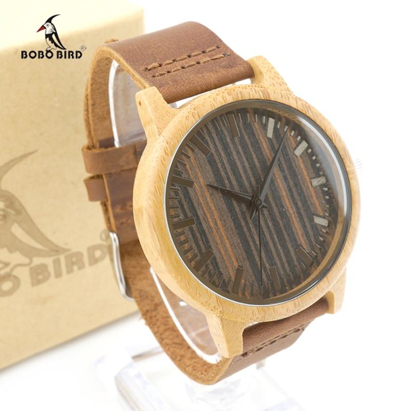 2017 Top Brand Men Watch BOBO BIRD Luxury Quartz Bamboo Watch Casual Leather Strap Clock Wristwatch Relogio Masculino C-H08