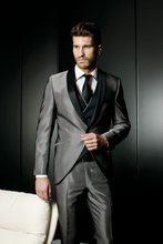 Latest Designs Gray Satin Groom Tuxedo Black Shawl Lapel Blazer Slim Fit Mens Wedding Prom Dress Suits(Jacket+Pants+Vest)(China)