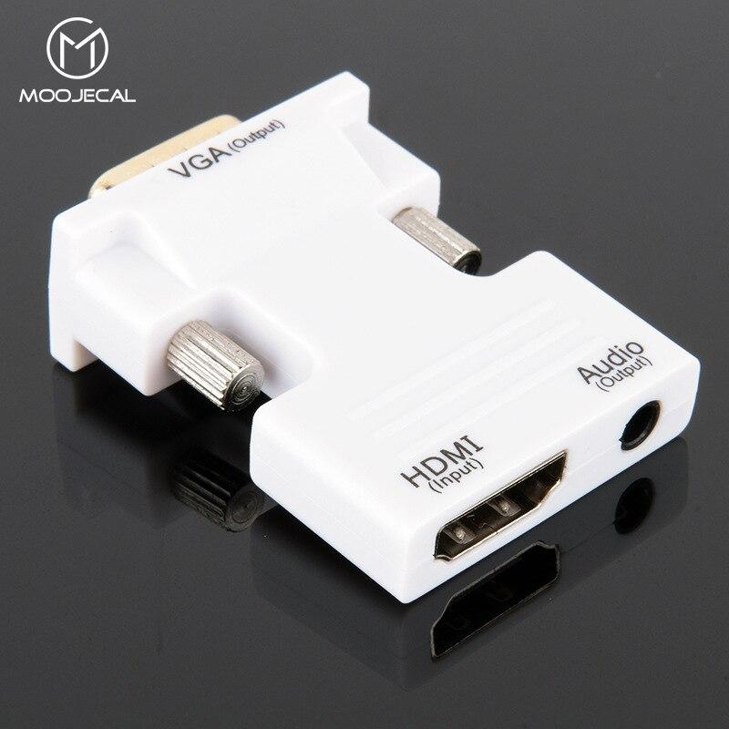 MOOJECAL 1080 p HD HDMI a VGA adaptador de Digital a analógico de Audio y Video convertidor de Cable para PC portátil caja de TV proyector