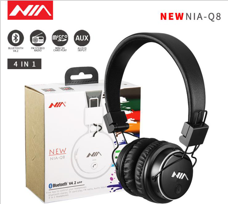 Original NIA Q8 Wirelsee Bluetooth Stereo Fone De Ouvido Estéreo Dobrável Suporte APLICATIVO de fones de Ouvido Do Esporte com Mic o Apoio TF Cartão de FM de Rádio
