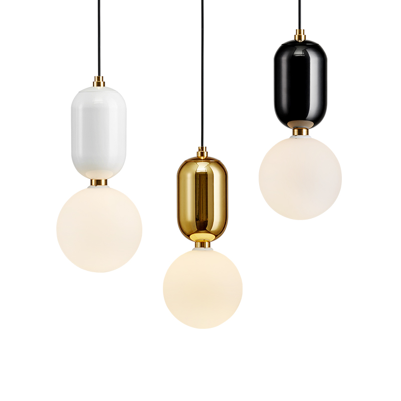 Modern simple Pendant Lights High Replica glass lampshade simple White Black gold color Kung G9 5W bulb hanging Suspension light in Pendant Lights from Lights Lighting