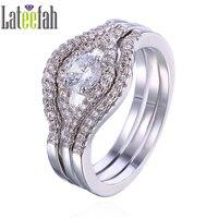 Lateefah Elegant Engagement Wedding Rings For Women White Gold Color Eye Shape Round Cubic Zirconia Ring