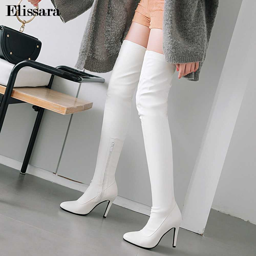 f4a0a1570c81 Women High Heels Winter Over Knee Boots Ladies Zip Sexy Pointed Toe Black  Heel Nightclub Long