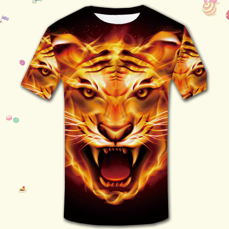 Flame Shirt Tiger T-shirt Anime T Shirt 3d Print Animal Tshirt Cool Slim Men Short Sleeves Mens Brand Clothing 2018 High Quality