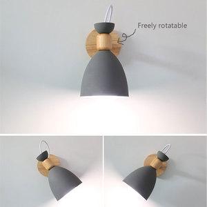 Image 5 - Lampe murale nordique en bois massif, lampe de chevet créative et simple, pour salon, escalier, hôtel, allée, chambre à coucher