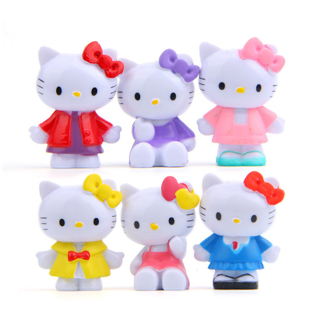 91335520a 6pcs/lot Hot Sale hello kitty Action Figures Toys Dolls classics for  collections Cute Desk Toy Christmas Toys for Children Doll