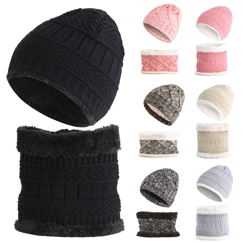 2018 Autumn Winter Women's Hat Caps Knitted Wool Warm Scarf Thick Windproof Multi Functional Hat Scarf Set For Children Girls