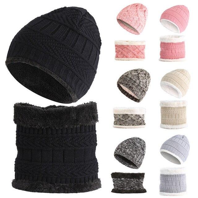 2018 Otoño Invierno mujeres gorras sombrero de lana de punto bufanda  caliente gruesa a prueba de. Sitúa el cursor encima para ... 8c0ffa40af7