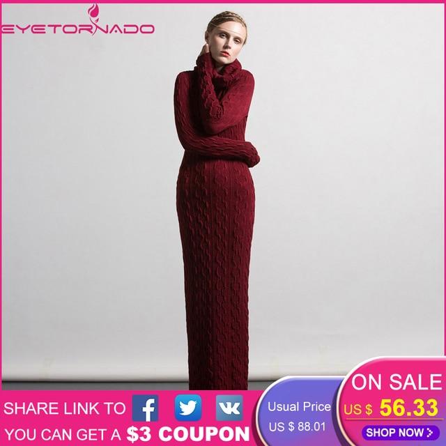 0c5e53663d Plus Size kobiet sweter z dzianiny sweter sukienka jesień zima golfem Sexy  Bodycon ołówek Maxi sukienka