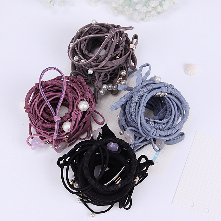 24 Pcs/Set Hair Ropes Set Korea Simple Hair Band Headwear Ribbon Hair Ring Accessories Color Mixing One Size 7