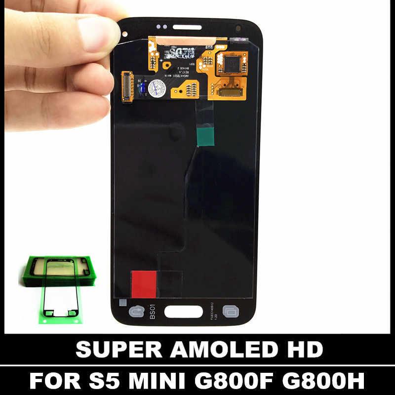 Reemplazo Super AMOLED LCD para Samsung Galaxy S5 Mini G800 G800F G800H LCDs pantalla táctil digitalizador montaje adhesivo