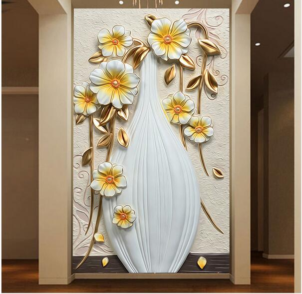 Embossed Entracne Abstract Photo Wallpaper 3D Photo Murals For Living Room Wall Decor Flower Vintage Mural