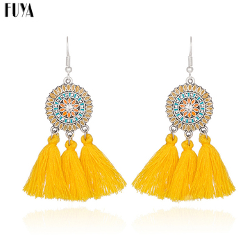 Ethnic earrings for women Cross long cloth tassel earring Dreamcatcher drop bohemia vintage statement boucle d'oreille brinco