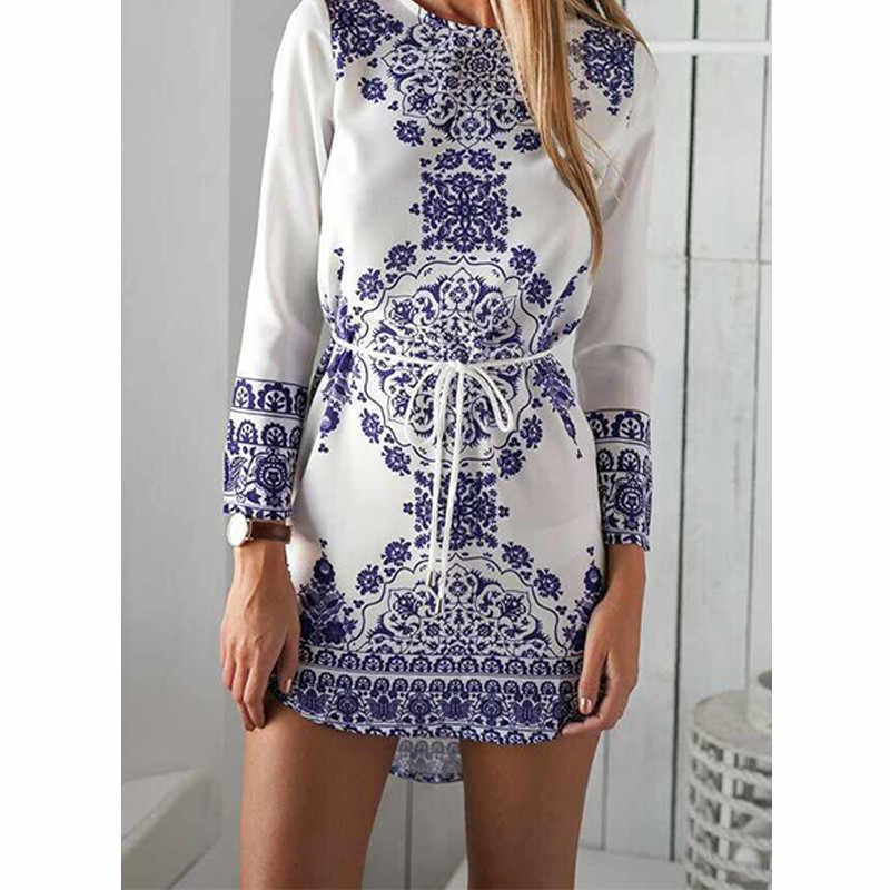 781592bc577 Горячее предложение Летнее стильное платье 1 шт. синий и белый фарфор узор  платье хлопок Длинные