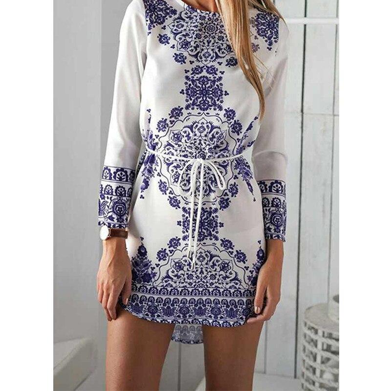 New Summer Style White Blue Porcelain Long Sleeve Loose Casual Mini Keyhole Back Hem Tile Prints Plus Size Beach Vestido Dress
