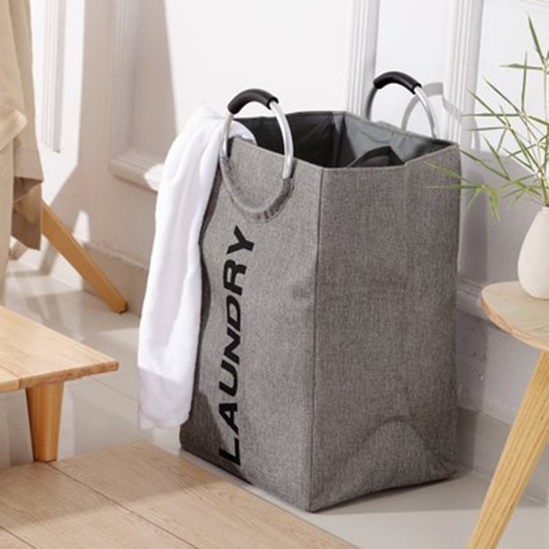 Laundry Bag Imitation Linen Double Storage Basket Storage Bag Solid Color Shopping Bag Dirty Clothes Bag Household Items