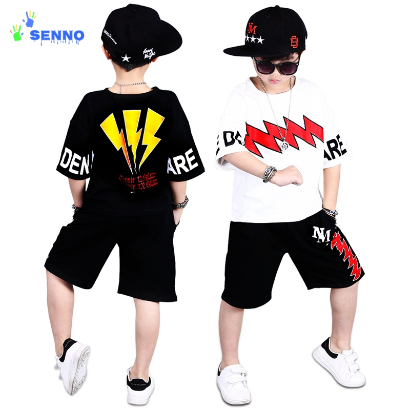 Children`s Sports Suit Boy Casual Tracksuit Kids Hip Hop Dancewear Boys Summer Clothes Cool Fashion Black White Hiphop Clothing ...