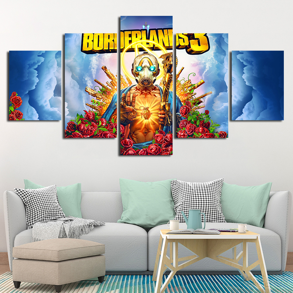 5 Panels borderlands Painting Home Decor Printed Poster Artworks Modular Popular Video Game Canvas Wall Art Pictures Framework image