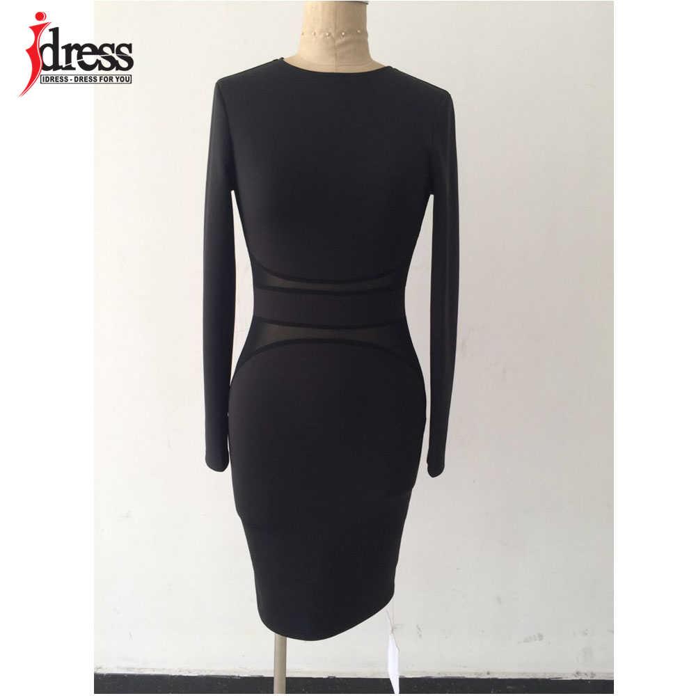 IDress настоящая фотография осень зима Женская мода черная сетка пэчворк Сексуальные облегающие платья с длинным рукавом опт Прямая доставка Vestidos