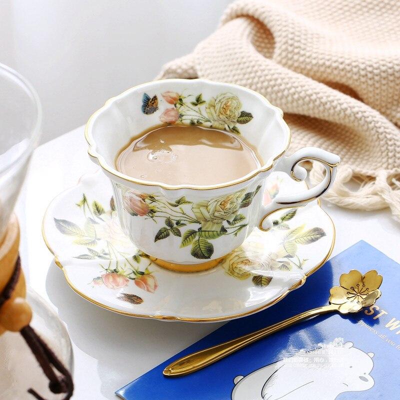 Fine Bone China Coffee Cup Sets White Rose Ceramic Tea ...