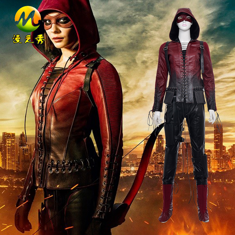 Movie Green Arrow Cosplay Red Thea Queen Costume For Superhero