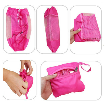 Foldable Beach Toy Bag Sand Away Beach Storage Pouch Tote Mesh Bag Travel Toy Organizer Sundries Net Drawstring Storage Backpack 5