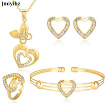 hot deal buy jmiyihz heart crystal wedding bridal jewelry sets gold color rhinestone wedding earrings ring bracelet necklace sets for women