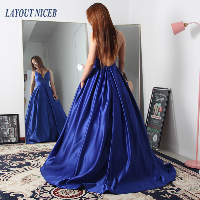 WY18 Blue Backless A line V Neck Custom   Evening     Dresses   2019 Sleeveless Satin Vestido de noiva Robe de Custom   Evening   Gowns