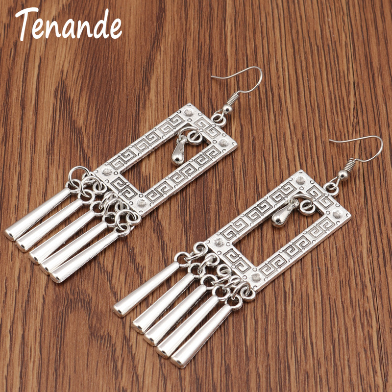 Tenande Vintage Punk Tibet Silver Color Long Statement Square Water Droplets Tassel Dangle Earrings for Women Jewelry Brincos