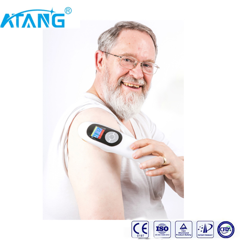 ATANG 2018 New LLLT 650nm And 808nm Cold Laser Physical Therapy Handy Cure Device Back Pain / Neck Pain / Shoulder Pain Relief blue scoop neck cold shoulder tie up at back tee