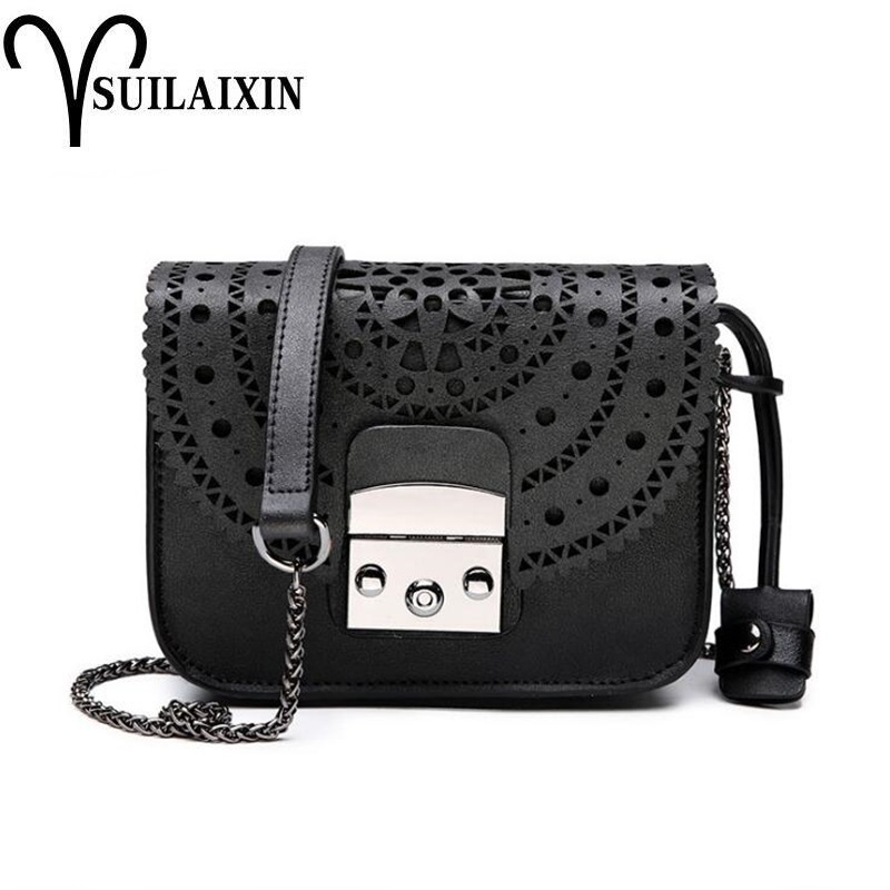 Fashion Women genuine Leather Messenger Bag Ladies Small Hollow Out Crossbody Bags Famous Brands Designers Shoulder Bags fashion women patent leather messenger bag handbag ladies small crossbody bags women famous brands designers shoulder bags girls