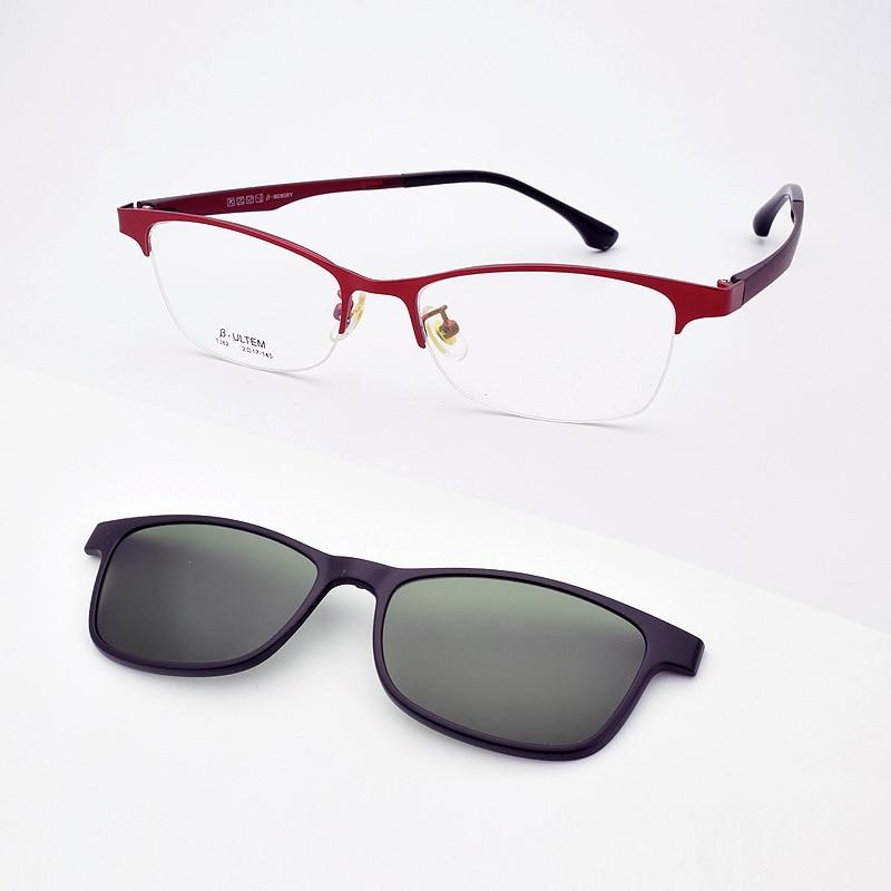 Glasses Frame Female Myopia Wine Red Glasses Frame Pink Glasses With Magnet Polarized Mirror Sunglasses Purple