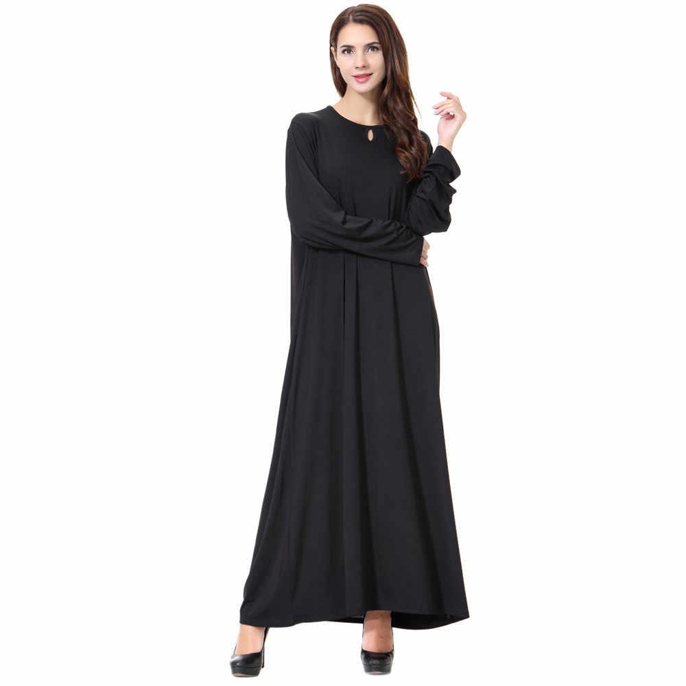 CHAMSGEND женское повседневное мусульманское платье с длинным рукавом, винтажное модное платье, хиджаб Абая для женщин, платье C30118