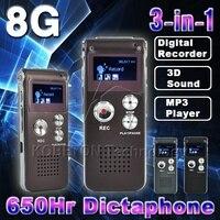Sıcak 8 GB Mini USB Flash Disk Kalem Sürücü 8G Dijital ses Ses Kayıt 650hr Kulaklık 3D Stereo MP3 Çalar Grabadora Gravador